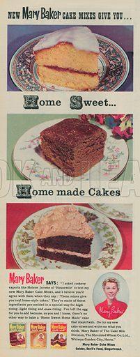 Mary Baker Cake Mix Advertisement, 1955.