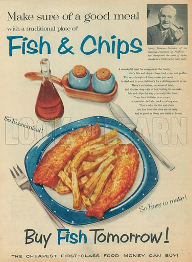 Fish & Chips Advertisement, 1957.