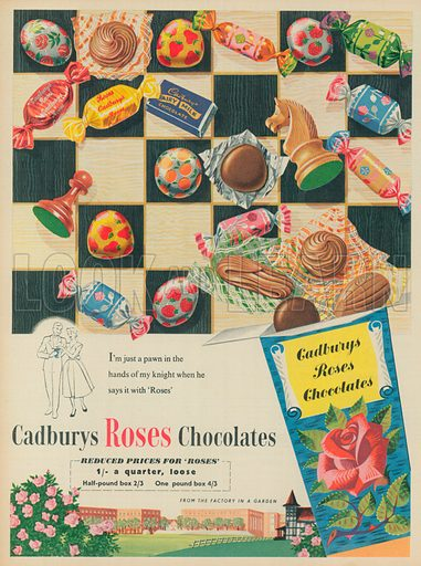 Cadburys Roses Chocolates Advertisement, 1956.
