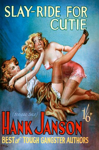 Slay-Ride for Cutie by Hank Janson. Cover prepared by New Fiction Press (1951) but unused at the time.