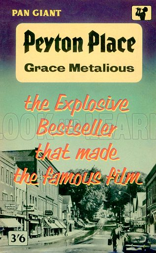 Peyton Place by Grace Metalious, Pan Books X35, 1959. Movie tie-in edition.