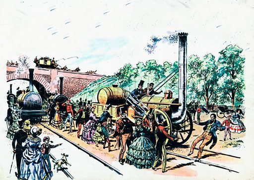 Great Day that ended tragically.  William Huskisson became the first man to die in a railway accident, at the opening of the Liverpool to Manchester railway.