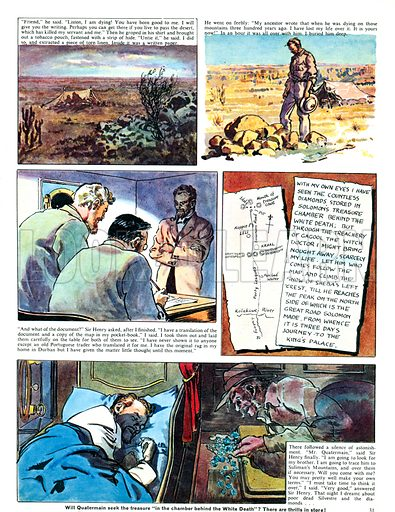 King Solomon's Mines, based on the novel by Sir Henry Rider Haggard. Comic strip from Ranger (1965).
