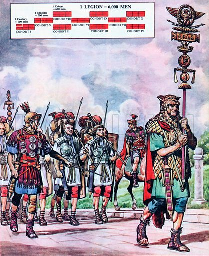 The Legion on the March.  The Roman legionaries had to keep very fit all the time for they were expected to march 20 miles in five hours; 24 miles on a forced march, carrying their weapons and all their equipment.