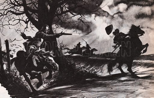 Death to the Royalist.  One of Cromwell's crack cavalrymen puts paid to a royalist fleeing from the battlefield at Naseby in June 1645.