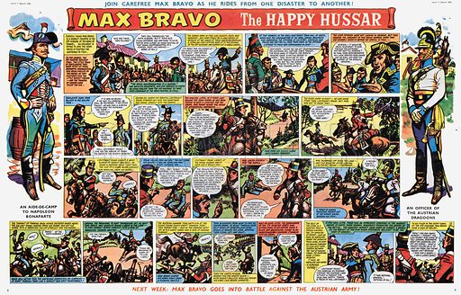 Max Bravo, the Happy Hussar. Comic strip from Swift, 3 March 1962.
