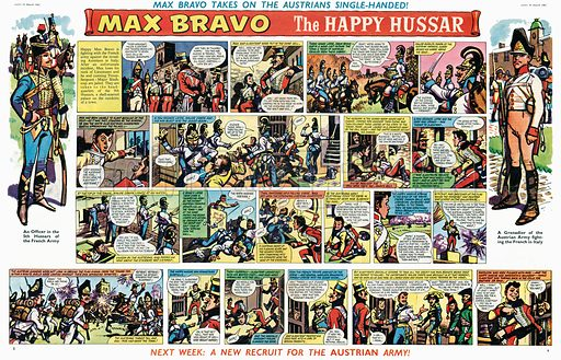 Max Bravo, the Happy Hussar. Comic strip from Swift, 24 March 1962.