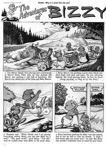 Bizzy Beaver. Comic strip from Swift, 9 June 1962.