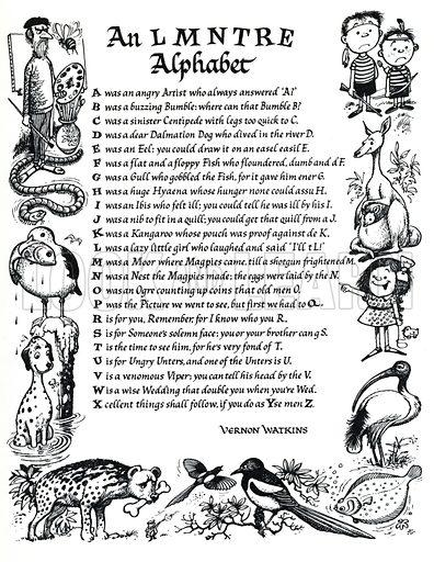 An L M N TRE Alphabet, verse by Vernon Watkins.