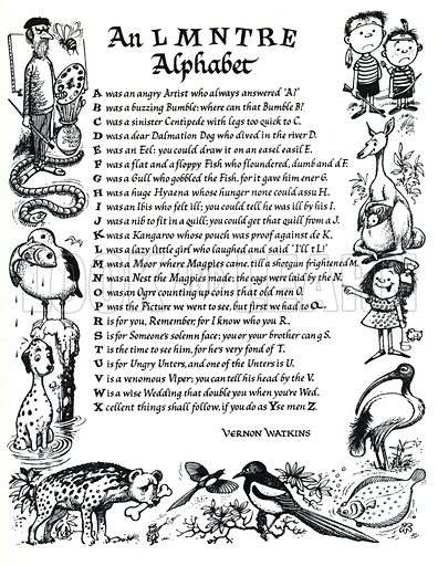 An LMNTRE Alphabet, verse by Vernon Watkins.