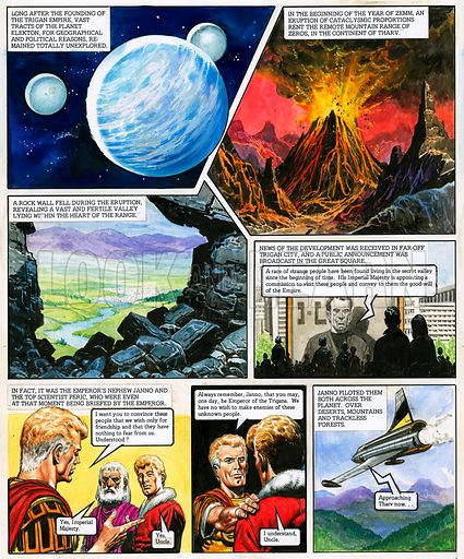 The Trigan Empire. Original artwork for Look and Learn issue no 740 (20 March 1976). For sale for £2,000 (including VAT and delivery within the UK). This image is not available for licensing.
