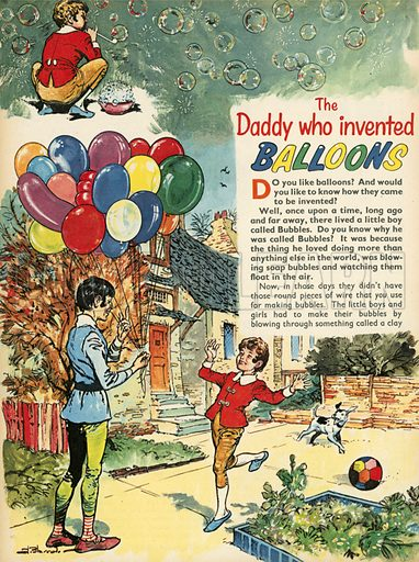 The daddy who invented balloons.  Illustration from Teddy Bear magazine.