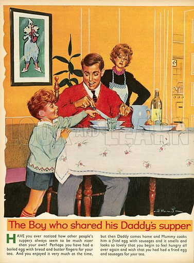 The boy who shared his daddy's supper.  Illustration from Teddy Bear magazine.