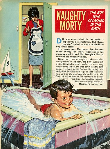 The boy who splashed in the bath.  Illustration from Teddy Bear magazine.