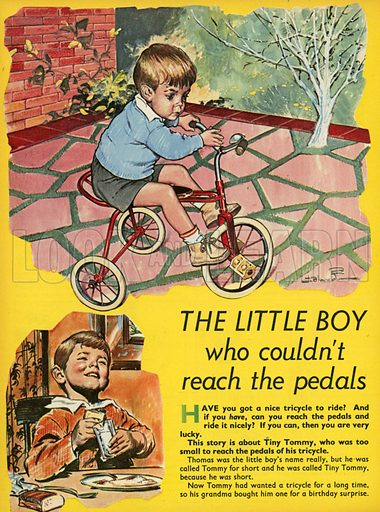 The little boy who couldn't reach the pedals.  Illustration from Teddy Bear magazine.