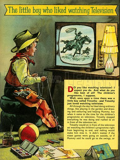 The little boy who liked watching television.  Illustration from Teddy Bear magazine.