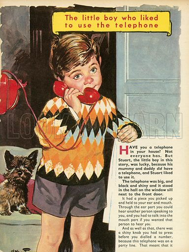 The little boy who liked to use the telephone.  Illustration from Teddy Bear magazine.