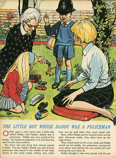 The little boy whose daddy was a policeman.  Illustration from Teddy Bear magazine.