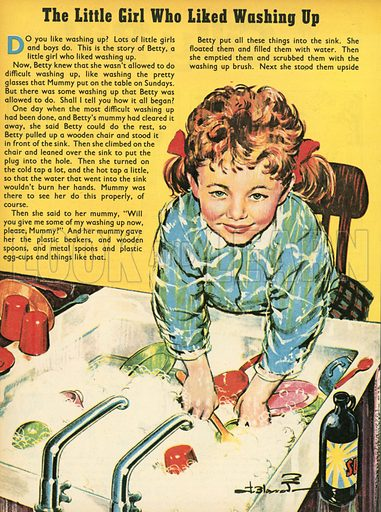 The little girl who liked washing up.  Illustration from Teddy Bear magazine.