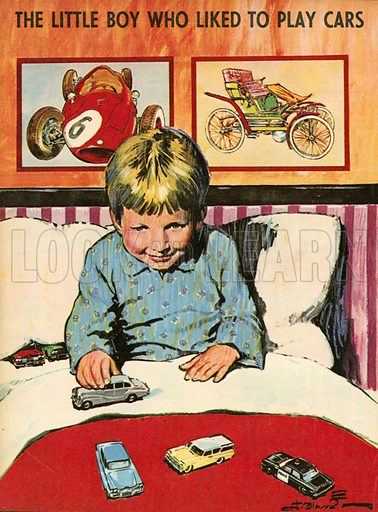 The little boy who liked to play cars.  Illustration from Teddy Bear magazine.
