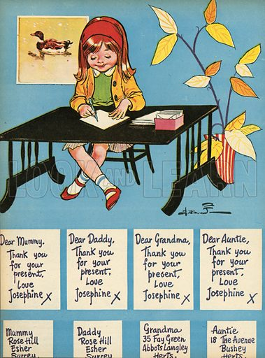 Writing thank you letters.  Illustration from Teddy Bear magazine.