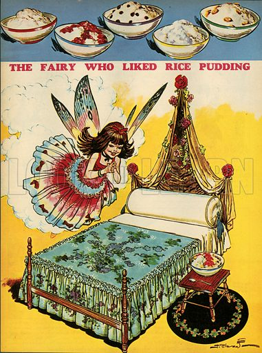 The fairy who liked rice pudding.  Illustration from Teddy Bear magazine.