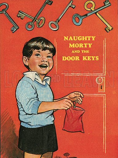 Naughty Morty and the door keys.  Illustration from Teddy Bear magazine.