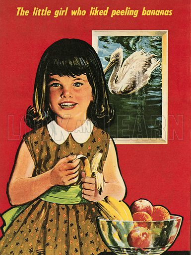 The little girl who liked peeling bananas.  Illustration from Teddy Bear magazine.
