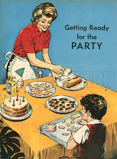Getting ready for the party.  Illustration from Teddy Bear magazine.