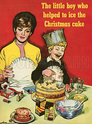 The little boy who helped to ice the Christmas cake.  Illustration from Teddy Bear magazine.