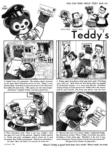 Teddy's 'Thank You' Letters. Comic strip from Teddy Bear, 5 October 1968.
