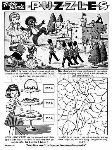 Teddy Bear's Puzzles. Puzzle page from Teddy Bear (4 January 1969).