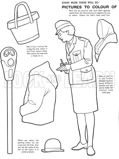 Pictures to Colour of People You See. Traffic Warden. A line drawing to paint from Teddy Bear (4 January 1969).