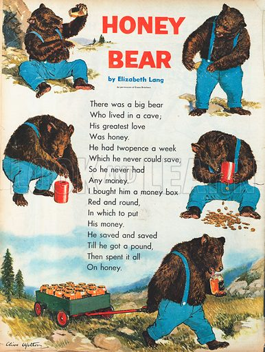 """The text of the poem """"Honey Bear"""" by Elizabeth Lang, illustrated by pictures of a bear in trousers with a money box who buys a small truck-load of honey.  Note:  Look and Learn does not own the copyright of the poem, which is credited to: Evans Brothers."""