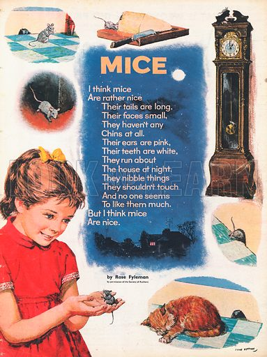"The text of the poem ""Mice"" by Rose Fyleman  set against a moonlit sky above a country cottage, surrounded by pictures of a mouse on his adventures."