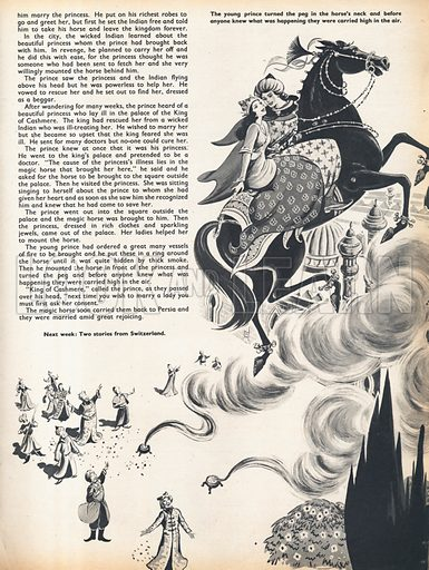 A scene from the Persian story of the Magic Horse in which the prince and princess are carried high in the air on the magic horse.