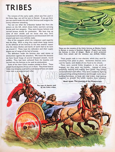 The Wonderful Story of Britain: The Warlike Tribes. Celtic chariot and fortress remains.