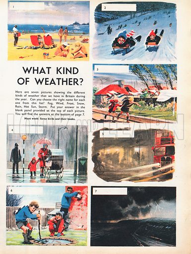 What kind of weather? shows seven pictures of weather conditions in Britain.