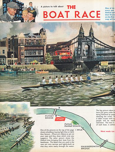 The Boat Race shows the two boats which have just gone under Hammersmith Bridge, with vignettes of the start and finish, as well as a map of the course.