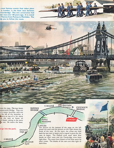 The Boat Race shows the two boats which have just gone under Hammersmith Bridge with vignettes of the start and finish as well as a map of the course.