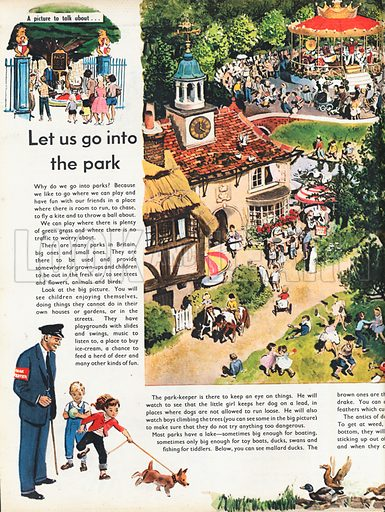 Let us go into the park shows an aerial view of a large park with tea-room, playground and carousel.