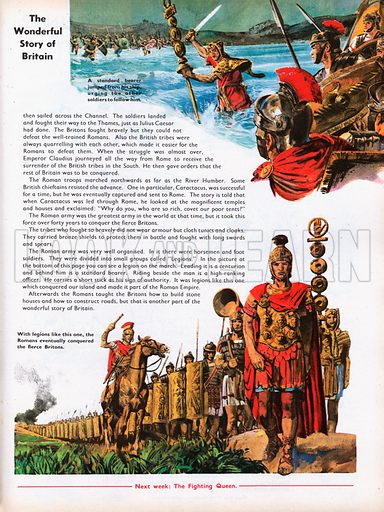 The Wonderful Story of Britain: Roman legions in battle during invasion of Britain.