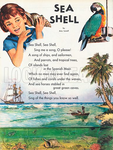 The text of the poem Sea Shell by Amy Lowell illustrated with a desert island scene and a girl listening to a shell.