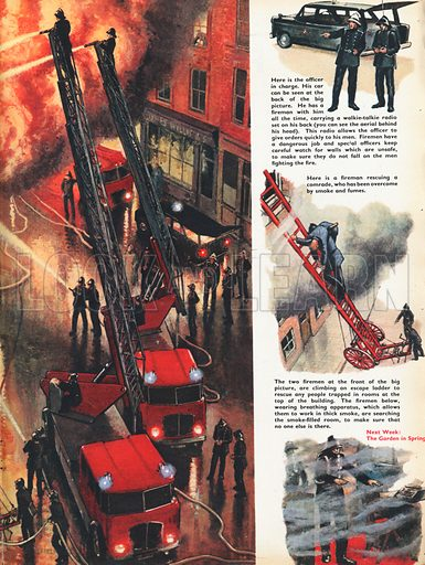 Dial 999 for Fire shows firemen and fire engines tackling a huge fire above a shop, with vignettes of various deeds like rescuing people.