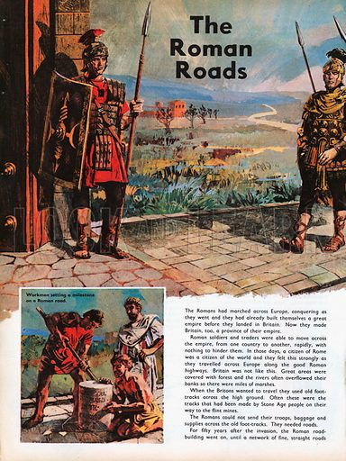 The Wonderful Story of Britain: The Roman Roads, showing a Roman legion marching on a new road.
