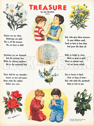 The text of the poem Treasure by Jan Struther illustrated with vignettes of the flowers mentioned.