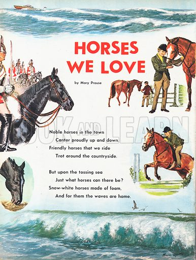 The text of the poem Horses we Love by Mary Prouse illustrated with the Horseguards Parade, a young show-jumper and the foam of a crashing wave.