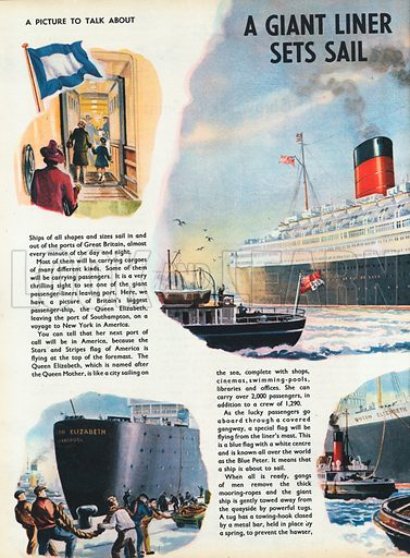 A giant liner sets sail shows the Queen Elizabeth leaving Southampton on a voyage to New York in America, with vignettes of other activities.