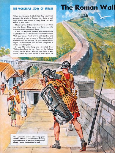 The Wonderful Story of Britain: The Roman Wall Across Britain. Hadrian's Wall.