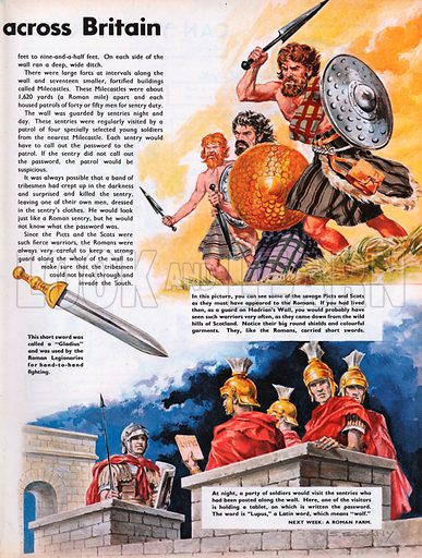 The Wonderful Story of Britain: The Roman Wall Across Britain. Picts and Scots with Roman soldiers.